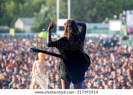 MADRID - SEP 12: Hinds (band) in concert at Dcode Festival on September 12, 2015 in Madrid, Spain. - stock photo
