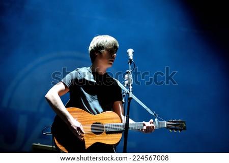 MADRID - SEP 13: Jake Bugg (English Musician, singer and songwriter) concert at Dcode Festival on September 13, 2014 in Madrid, Spain. - stock photo