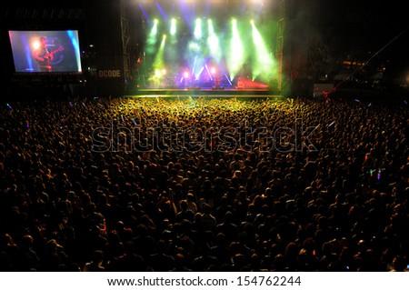 MADRID - SEPT 14: Foals band concert at Dcode Festival on September 14, 2013 in Madrid, Spain. - stock photo