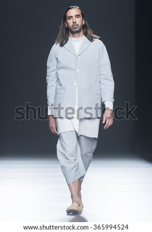 MADRID - SEPTEMBER 20: a model walks on the Etxebarria catwalk during the Mercedes-Benz Fashion Week Madrid Spring/Summer 2016 runway on September 20, 2015 in Madrid.
