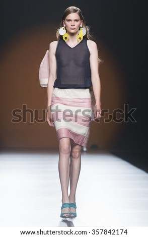 MADRID - SEPTEMBER 19: a model walks on the Moises Nieto catwalk during the Mercedes-Benz Fashion Week Madrid Spring/Summer 2016 runway on September 19, 2015 in Madrid.  - stock photo