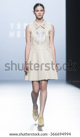 MADRID - SEPTEMBER 20: a model walks on the Teresa Helbig catwalk during the Mercedes-Benz Fashion Week Madrid Spring/Summer 2016 runway on September 20, 2015 in Madrid.  - stock photo