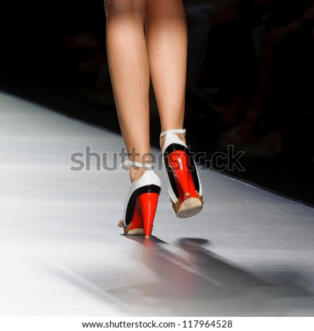 MADRID - SEPTEMBER 01: Details of shoes on the Amaya Arzuaga catwalk during the Cibeles Madrid Fashion Week runway on September 01, 2012 in Madrid.