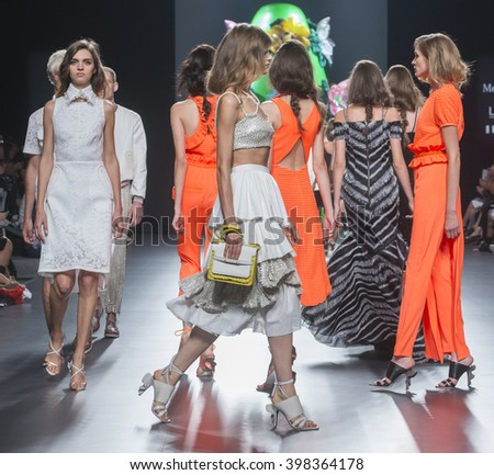 MADRID - SEPTEMBER 19: models walking on the Ana Locking catwalk during the Mercedes-Benz Fashion Week Madrid Spring/Summer 2016 runway on September 19, 2015 in Madrid.