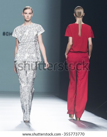 MADRID - SEPTEMBER 18: models walking on the Angel Schlesser catwalk during the Mercedes-Benz Fashion Week Madrid Spring/Summer 2016 runway on September 18, 2015 in Madrid.  - stock photo