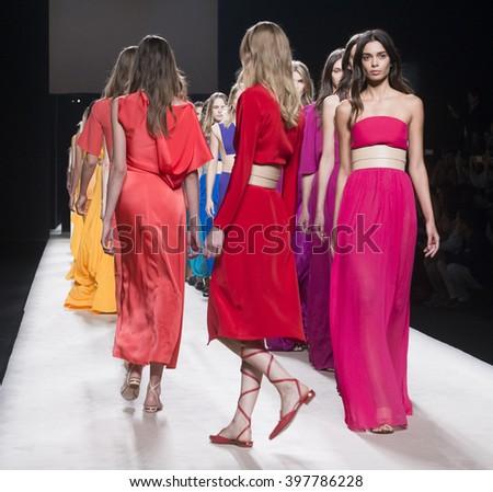 MADRID - SEPTEMBER 19: models walking on the Juanjo Oliva catwalk during the Mercedes-Benz Fashion Week Madrid Spring/Summer 2016 runway on September 19, 2015 in Madrid.  - stock photo