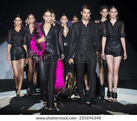 MADRID - SEPTEMBER 12: models walking on the Roberto Verino catwalk during the Mercedes-Benz Fashion Week Madrid Spring/Summer 2015 runway on September 12, 2014 in Madrid.  - stock photo