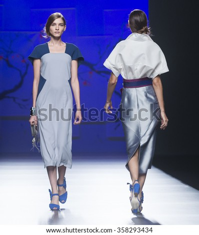 MADRID - SEPTEMBER 19: models walking on the Ulises Merida catwalk during the Mercedes-Benz Fashion Week Madrid Spring/Summer 2016 runway on September 19, 2015 in Madrid.  - stock photo
