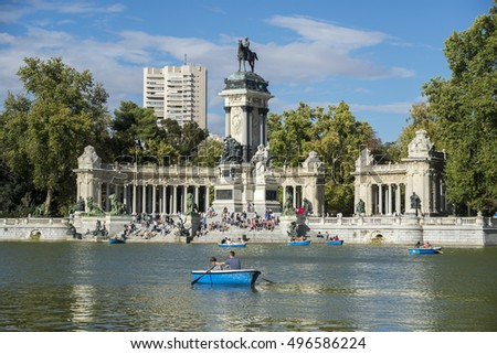 MADRID - SEPTEMBER 13, 2015: Monument to King Alfonso XII and pond, in Retiro Park, Madrid, Spain, on September 13, 2015.
