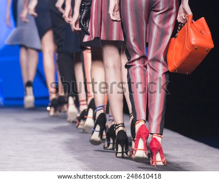 MADRID - SEPTEMBER 15: shoes details on the Alvarno catwalk during the Mercedes-Benz Fashion Week Madrid Spring/Summer 2015 runway on September 15, 2014 in Madrid.  - stock photo