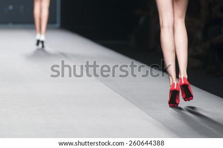 MADRID - SEPTEMBER 14: shoes details on the Amaya Arzuaga catwalk during the Mercedes-Benz Fashion Week Madrid Spring/Summer 2015 runway on September 14, 2014 in Madrid.  - stock photo