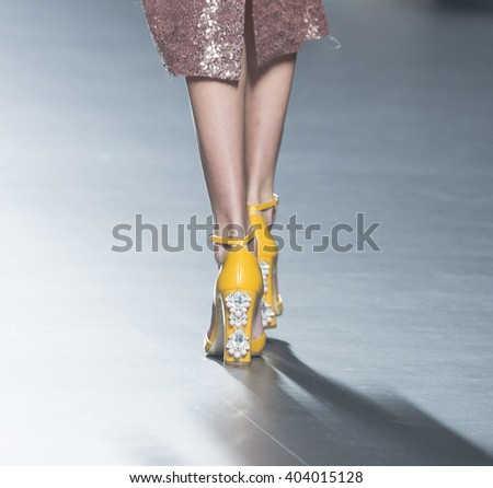 MADRID - SEPTEMBER 21: shoes details on the 2nd Skin Co catwalk during the Mercedes-Benz Fashion Week Madrid Spring/Summer 2016 runway on September 21, 2015 in Madrid.  - stock photo