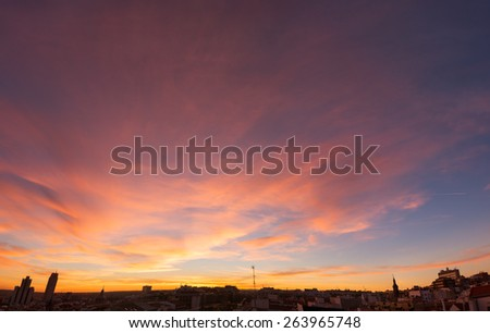 Madrid skyline at sunset - stock photo