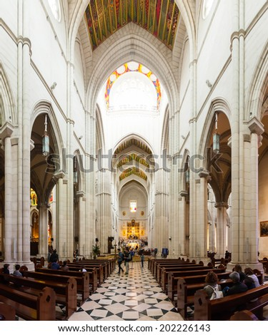 MADRID, SPAIN - APRIL 25: Inside view of Almudena Cathedral in April 25, 2013 in Madrid, Spain. Santa Maria la Real de La Almudena is Catholic cathedral - main church of Spain