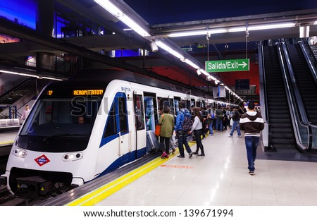 MADRID, SPAIN - APRIL 26: Interior of metro station Aeropuerto in April 26, 2013 in Madrid, Spain.  Metro began work October 17, 1919. Number of stations - 326 - stock photo