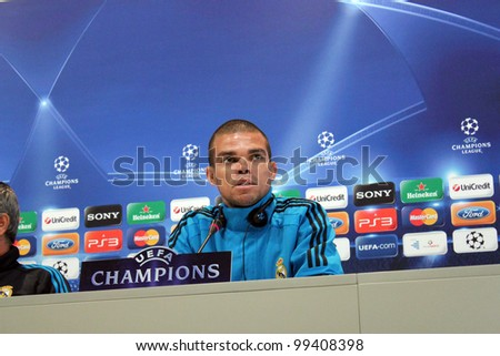 MADRID, SPAIN  APRIL 3: Pepe press conference, pregame Champions League, Apoel return leg. On April 3, 2012 in Valdebebas.