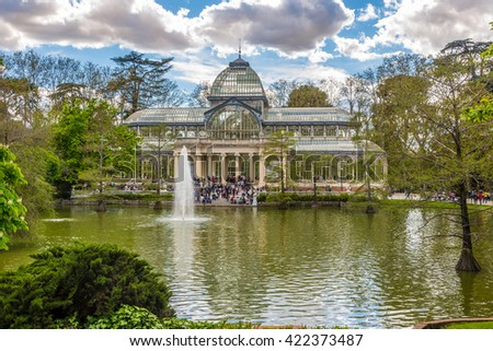 MADRID,SPAIN - APRIL 24,2016 - The Crystal Palace is a glass and metal structure located in Retiro Park of Madrid. It was built in 1887 to exhibit flora and fauna from the Philippines.