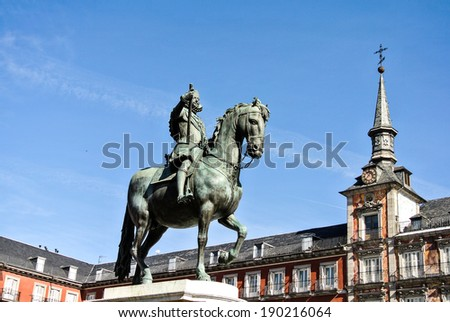MADRID, SPAIN - APRIL 27: The statue of Carlos III (King of Spain) riding his horse in Sol square. This statue was created by Eduardo Zancada architect. April 27, 2014 in Madrid, Spain