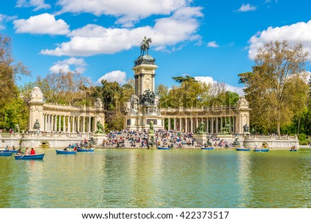 MADRID,SPAIN - APRIL 24,2016 - View at the Monument to Alfonso XII of Spain in Madrid.The Monument to King Alfonso XII is located in Retiro Park (El Retiro)in Madrid.