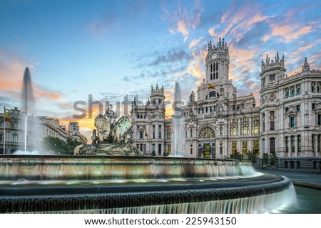 Madrid, Spain at Communication Palace. - stock photo