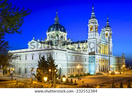 Madrid, Spain at La Almudena Cathedral and the Royal Palace. - stock photo