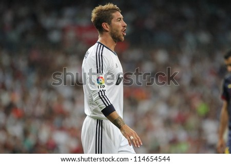 MADRID, SPAIN - AUGUST 29: Sergio Ramos during the Supercopa, Real Madrid vs FC Barcelona, on August 29, 2012 at the Santiago Bernabeu Stadium. - stock photo