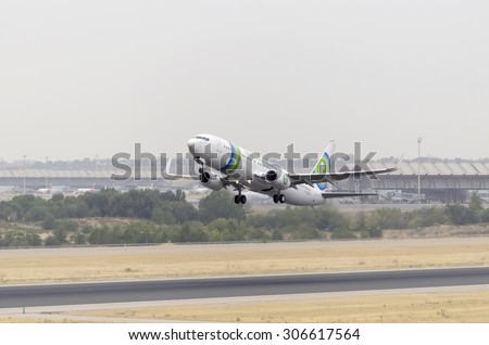 MADRID, SPAIN - AUGUST 8th 2015: Aircraft -Boeing 737-86J-, of -Transavia France- airline, is taking off from Madrid-Barajas -Adolfo Suarez- airport, on August 8th 2015.