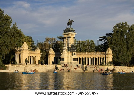 MADRID, SPAIN - AUGUST 25, 2012: The Monument to King Alfonso XII in Buen Retiro Park (El Retiro), Madrid, Spain