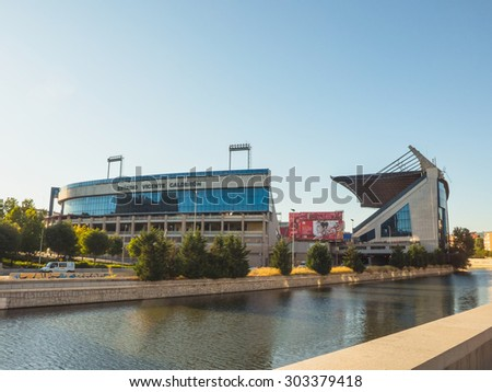 MADRID, SPAIN - AUGUST 1: Vicente Calderon soccer Stadium on August 1, 2015 in Madrid Spain. Vicente Calderon Stadium was built over the Manzanares River.