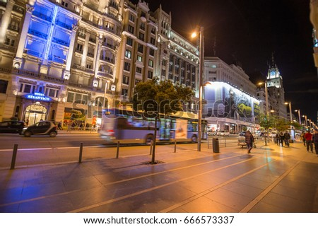 MADRID, SPAIN - CIRCA APRIL, 2014: Nightlife in the streets of downtown Madrid