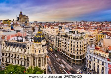 Madrid, Spain cityscape above Gran Via shopping street. - stock photo