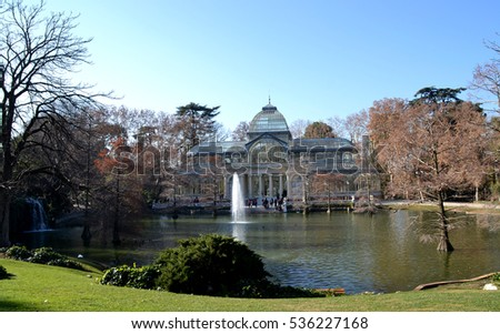 MADRID, SPAIN - DECEMBER 24: Crystal Palace in El Retiro Park in Madrid, Spain on December 24, 2014. Crystal Palace is a metal and glass structure, built in 1887 and has an area of 750 m2.