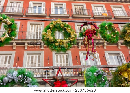 MADRID,SPAIN - DECEMBER 18: Famous Christmas market full of shops with all kinds of articles for parties and some street performers in December 18, 2014 , Madrid Spain