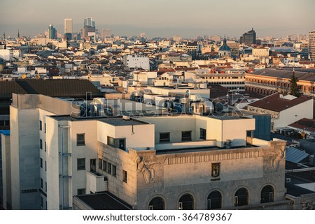 Madrid, Spain - December 21, 2015: Madrid panoramic arial view from rooftop.