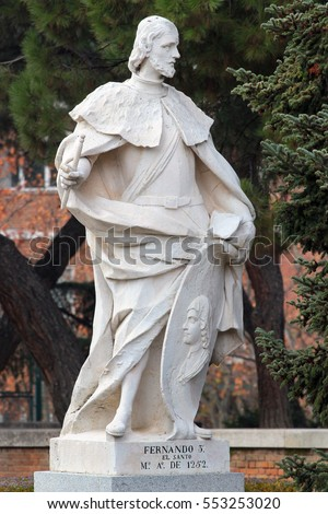 MADRID, SPAIN - DECEMBER 13, 2016: Sculpture of Ferdinand III the Saint, King of Castile and Leon, near the Royal Palace of Madrid. He reigned from 1230 to 1252 and unified Castile and Leon kingdoms.