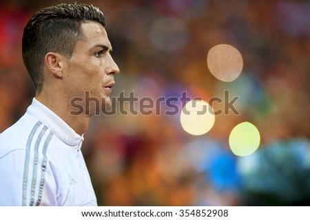 MADRID, SPAIN - December 20th, 2015 : Portrait of Portuguese CRISTIANO RONALDO of Real Madrid during La Liga match at Santiago Bernabeu Stadium  - stock photo