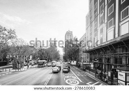 MADRID, SPAIN - JAN 29, 2015: Architecture of Madrid, Spain, Madrid is the capital and the largest city of Spain,