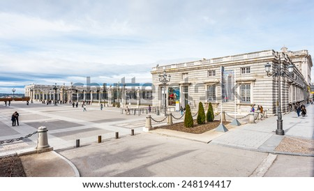 MADRID, SPAIN - JAN 29, 2015: Royall Palace (Palacio Real) of Madrid, Spain, Madrid is the capital and the largest city of Spain,
