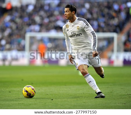 MADRID, SPAIN - Januar 10th, 2015 : CRISTIANO RONALDO of Real Madrid in action during La Liga match against ESPANYOL at Santiago Bernabeu Stadium  - stock photo