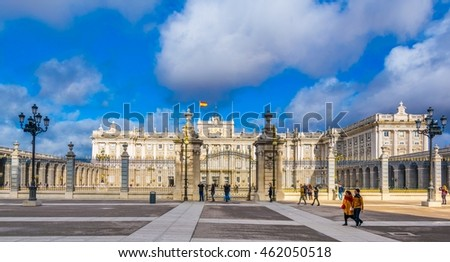 MADRID, SPAIN, JANUARY 9, 2016: people are walking through grounds of the royal palace in the spanish capital madrid