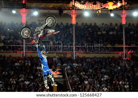MADRID, SPAIN - JUL 15 : Australian rider Josh Sheehan competing in The Red Bull X-Fighters, on Jul 15, 2011 in Madrid, Spain