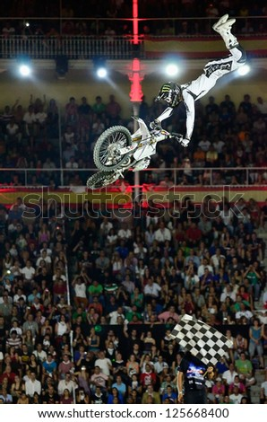 MADRID, SPAIN - JUL 15 : Norwegian rider Andre Villa competing in The Red Bull X-Fighters, on Jul 15, 2011 in Madrid, Spain