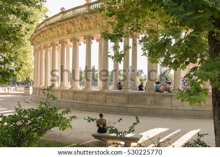 MADRID, SPAIN - JULY 18, 2016: A view from behind the Monument to King Alfonso XII in Buen Retiro Park in Madrid, Spain, in the afternoon on July 18, 2016