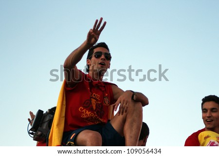 MADRID, SPAIN  - JULY 7: Alvaro Arbeloa celebrates the Spanish national team winning the 2012 Eurocup. On July 7, 2012 at the Cibeles. - stock photo