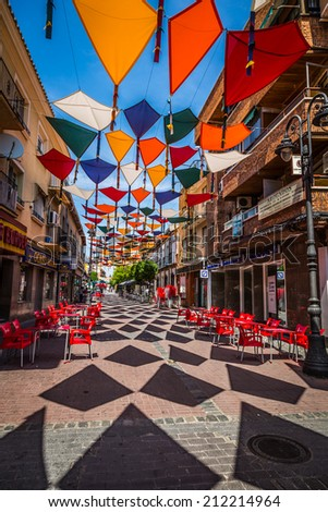 Madrid,Spain 25 July,2014 Background colorful streets decoration
