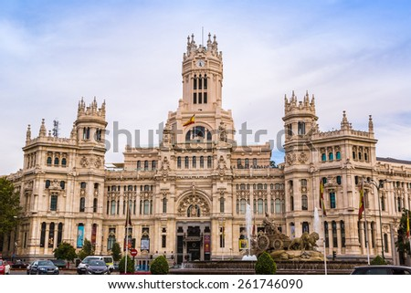 MADRID, SPAIN - JULY 11: Cibeles Palace in Madrid in a beautiful summer day, Spain on July 11, 2014 in Madrid, Spain
