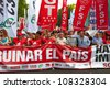 MADRID, SPAIN - JULY 19: Thousands of people are evident in the streets to protest cuts in public services, in the squares Neptune, Cibeles and Puerta del Sol in Madrid, Spain on July 19, 2012. - stock