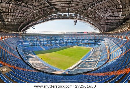 MADRID, SPAIN - JUNE 20, 2012: Panoramic view of empty Santiago Bernabeu stadium, where Real Madrid football team plays. Madrid, Spain - stock photo