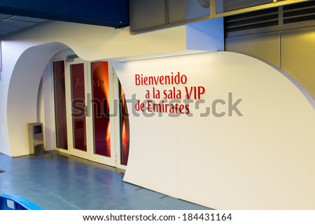 MADRID, SPAIN - MAR 11, 2014: Fly Emirates VIP zone at the Santiago Bernabeu stadium. Santiago Bernabeu is a home arena for the Real Madrid Club de Futbol - stock photo