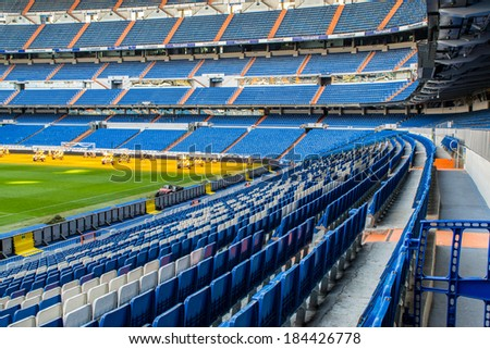 MADRID, SPAIN - MAR 11, 2014: Part of the Santiago Bernabeu stadium. Santiago Bernabeu is a home arena for the Real Madrid Club de Futbol - stock photo
